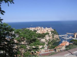 The whole Rock of Monaco viewed from the Jardin Exotique