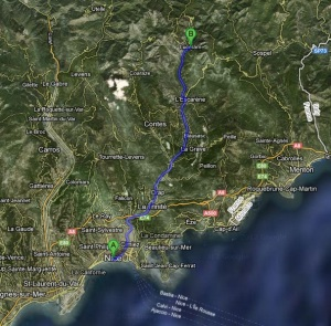 Route map to get to Lucéram from Nice
