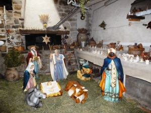 The Nativity scene played out inside the village bread oven!