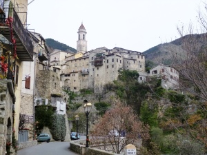 The medieval village of Lucéram, perched on its Baus