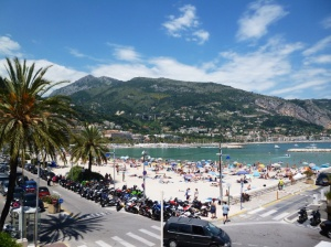 The restaurant strip overlooking the harbour of Menton on Quai Bonaparte