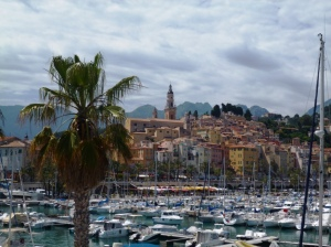 The Old Town of Menton viewed from the harbour jetty