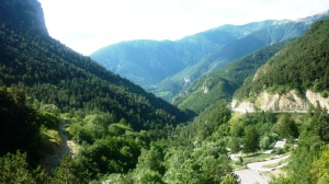 View south over the lush Roya valley and towards the coastline from the Col de Tende at the French-Italian border