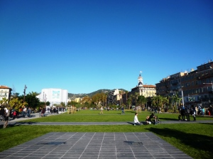 The northern tip of the garden, with the National Theatre of Nice and Place Garibaldi in the distance