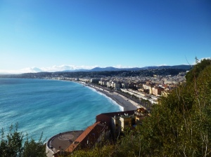 Picture postcard view west over the Baie des Anges and Old Nice