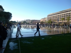 The new water mirror fountains, walk through there at your peril!