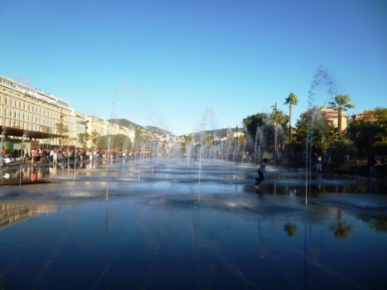 The entrance to the Promenade du Paillon viewed from Place Massena