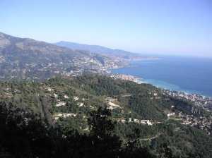 View from Mont Gros, just 15 minutes from Monaco, east over Menton and the Italian border