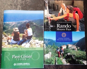 Some of the Guides Randoxygène - the free hiking bibles for the Riviera
