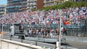 The drivers' parade that takes place about 90 minutes before the start of the race