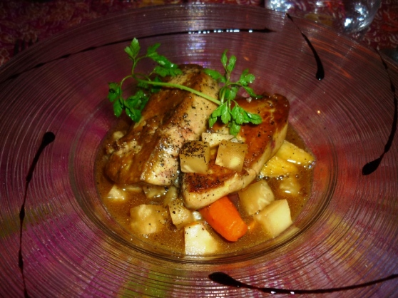 An autumn menu dish: pan-fried fresh foie gras on a soup of pumpkin and other autumn vegetables, this was also amazing!