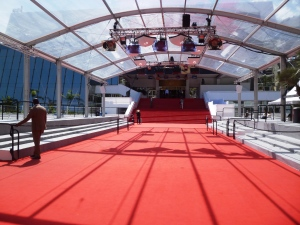 """La montée des marches"": the red carpetted steps that the stars walk up in gala dresses to attend the screenings each night"
