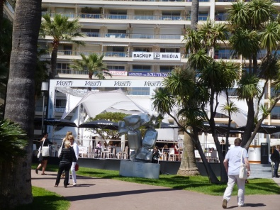 The film market side of the Festival with the Variety pavillion, located on the Croisette just beneath the Grand Hotel