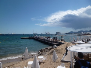 View over the Esterel mountains and the Bay of Cannes from the Majestic Plage on la Croisette