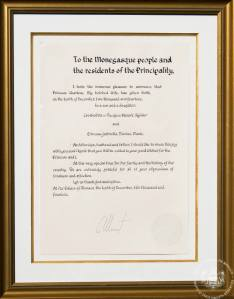 The act of proclamation, published in English and French (C) Palais Princier de Monaco