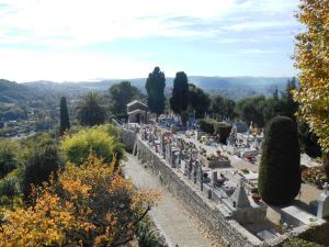 The magnificent view from Porte de Nice over the cemetery where Marc Chagall is buried, and over the Mediterranean coastline