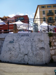 Cocteau's Orpheus mural just across the road from the chapel