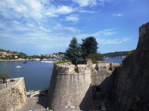 The thick defensive walls of the Villefranche Citadel